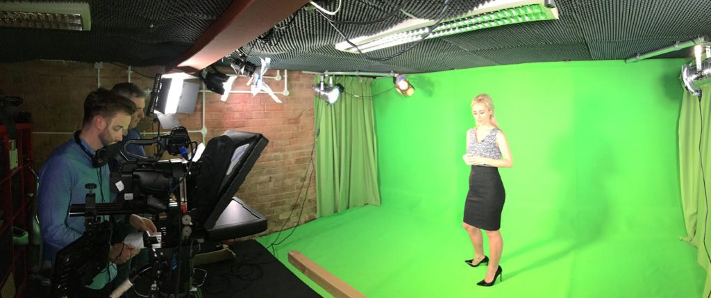 Hard at work in our Green Screen Studio.